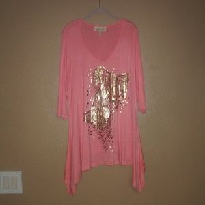 Pink butterfly long sleeve 1X top